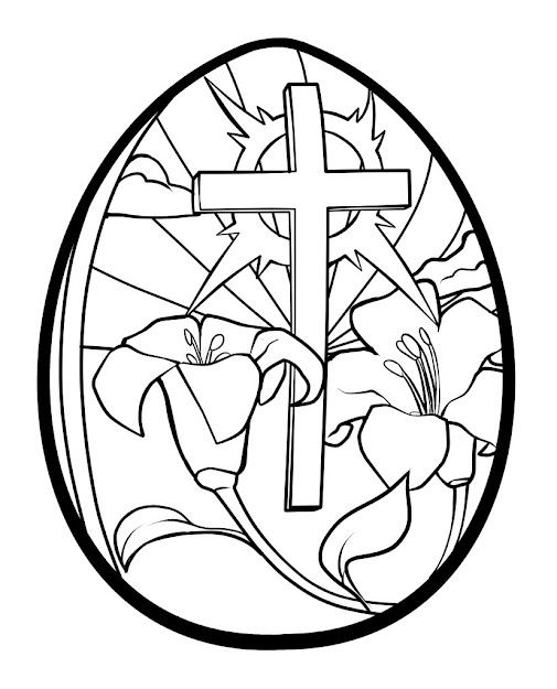 Easter Egg Coloring Pages Printable  Lilies And Cross Easter Egg Coloring  Page