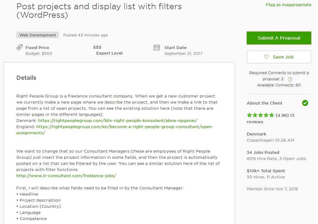 07. Job Posting Sample For Wordpress Developer