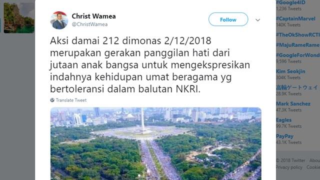 Tokoh Kristen Papua: Reuni Alumni 212 Bukti Tingginya Toleransi Umat Islam Indonesia