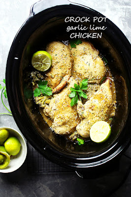 Crock Pot Garlic Lime Chicken from Diethood featured on SlowCookerFromScratch.com