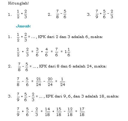 Contoh soal operasi hitung bilangan pecahan kelas 7 smp semester 1 lengkap