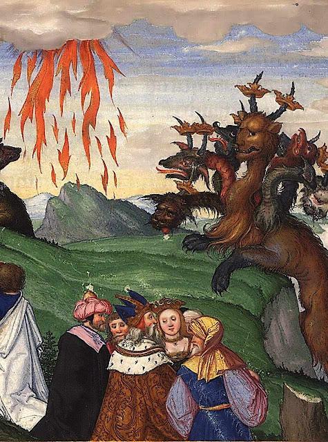 Chuva de fogo e besta do Apocalipse.  Ottheinrich-Bibel, Bayerische Staatsbibliothek, Cgm 8010, Folio296r.