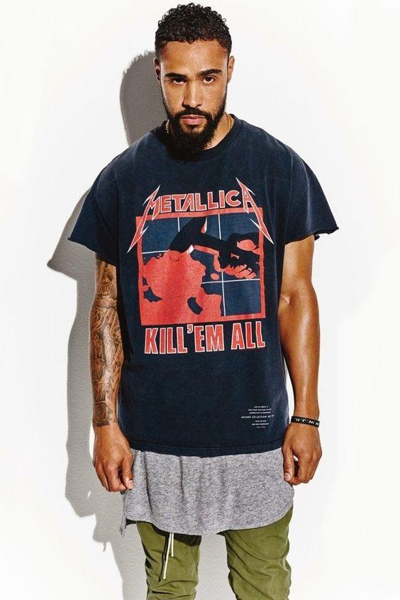 Look Masculino Camiseta de Banda
