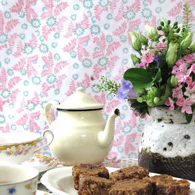 ByHaafner, vintage teacups, vegan treat of the month, vegan flapjacks, flowers, wallpaper, pastel colours