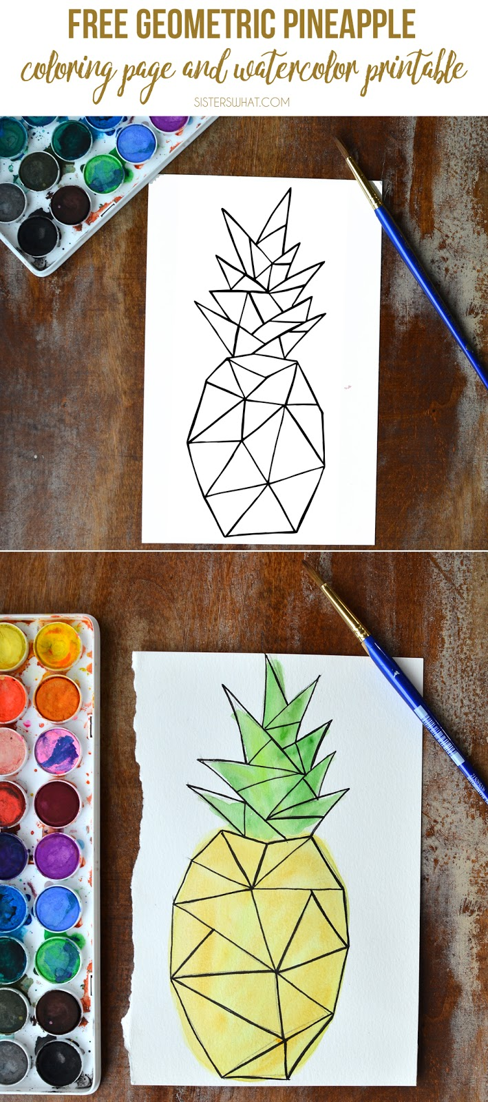 Free geometric pineapple coloring page and watercolor card print