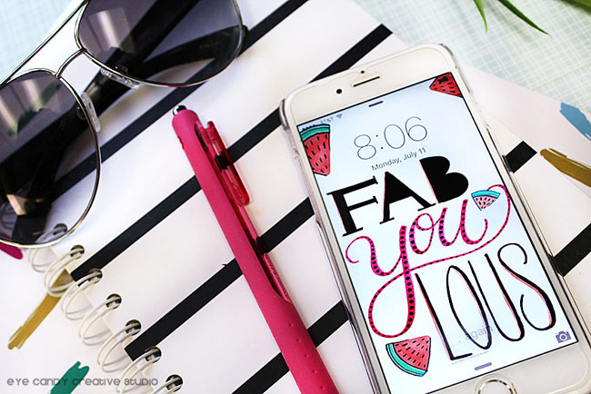 office supplies, shades, cell phone, fabYOUlous, hand lettered art