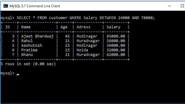 example How to SELECT the ranges using AND and comparison statement: in sql
