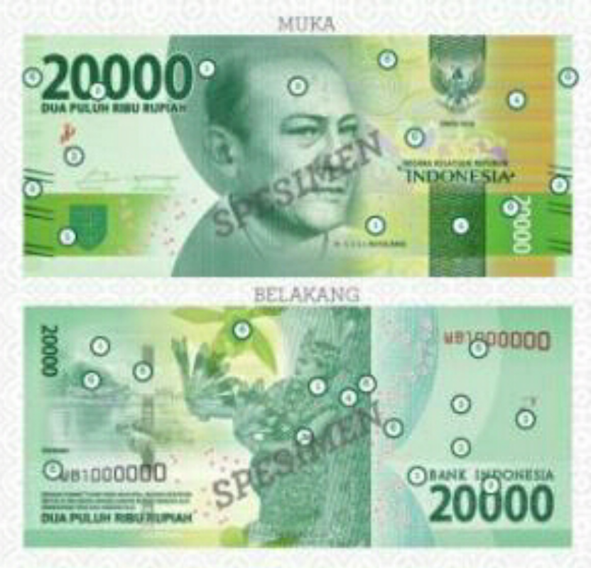 Image result for gambar belakang uang 20.000 baru