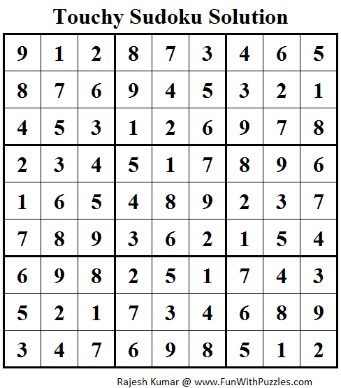 Touchy Sudoku (Daily Sudoku League #94) Solution