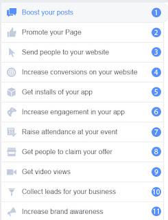 خيارات الإعلان على الفيس بوك