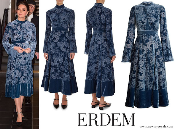 Kate Middleton wore Erdem the Christina Devore Velvet Midi Dress