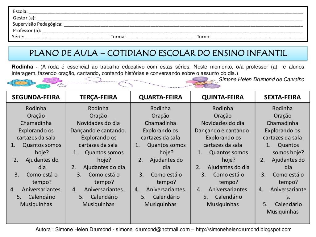 Plano de aula de ensino infantil