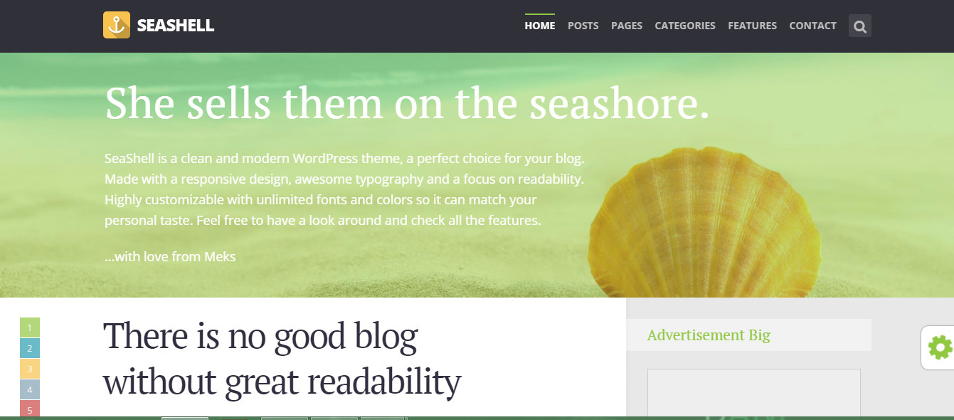 Seashell- Best WordPress blog themes