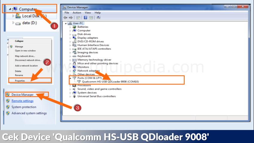 Cek Device 'Qualcomm HS-USB QDloader 9008'