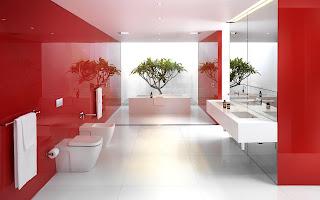 Diseño de baño rojo