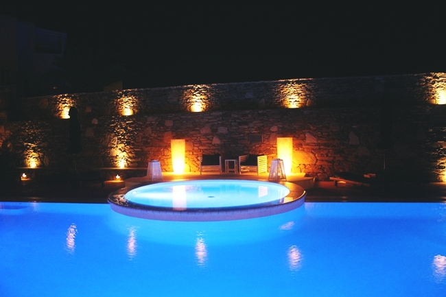 Liostasi hotel & spa pool at night