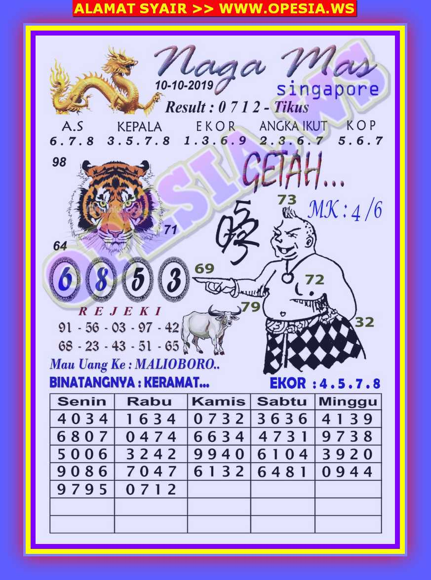 Kode Syair Singapore 10 Oktober 2019 Forum Syair Togel