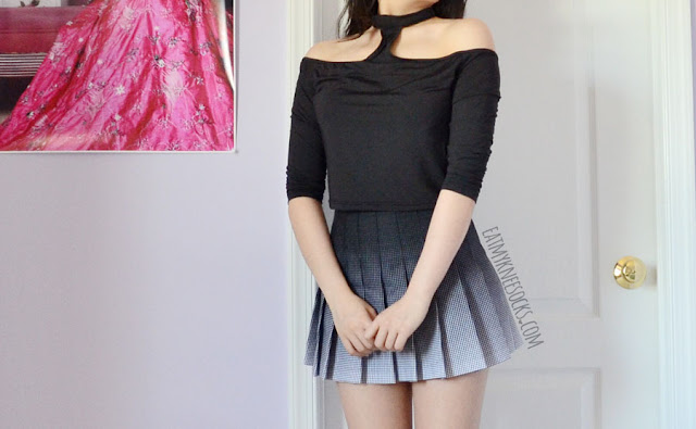 Details on the black long sleeve choker crop top (American Apparel inspired/dupe) from Romwe, modeled with an AA ombre pleated tennis skirt.