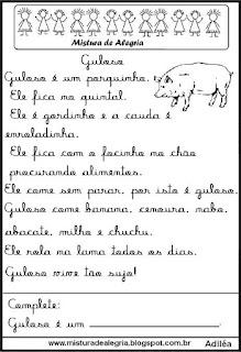 Pequenos textos para alfabetização com porco