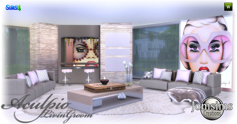 Jomsimscreations blog aculpio living room click image to for Salon moderne sims 4