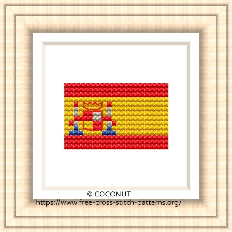 NATIONAL FLAG OF SPAIN CROSS STITCH CHART