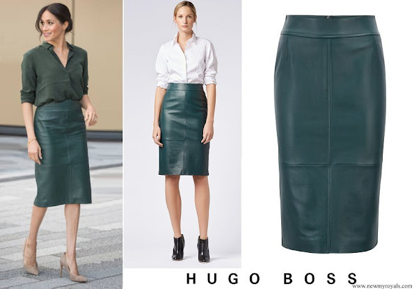 Meghan Markle wore Hugo Boss Lambskin-leather pencil skirt with panelled structure