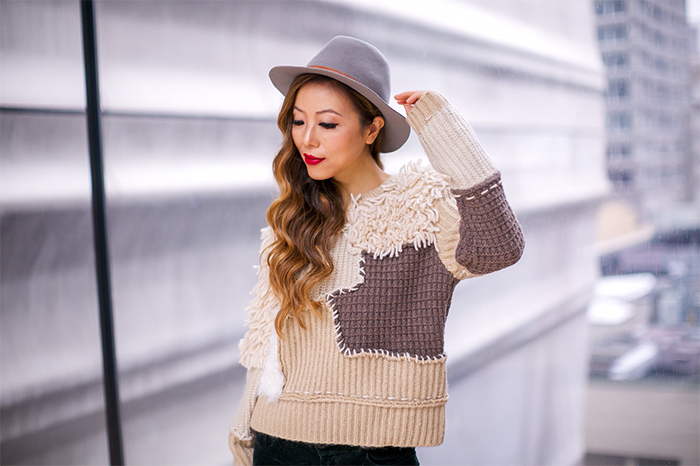 scotch soda patchwork sweater, maison scotch patchwork sweater, alexander wang bag, hatattackny hat, fedora hat, jbrand jeans, christian louboutin heels, sf moma street style, san francisco fashion blog, shopbop black friday sale, best black friday sale 2016, black friday sale