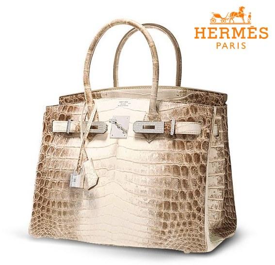 Esta bolsa de couro de Crocodilo do Himalaia, com 30 diamantes encrustados, da Hermès, custa mais de US$ 300.000