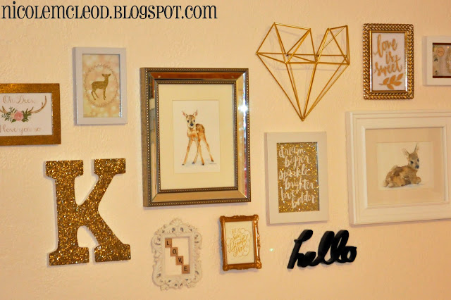 blush pink and gold baby girl nursery baby deer spotted fawn bambi chic sweet soft light pink deer bust metallic gold confetti wall decal banner custom name white changing table fabric decal gallery wall art print antlers wood wooden bust tissue tassel garland antique mood board design crib sheets bedding changing pad cover boppy pillow case figurines polk dots curtains