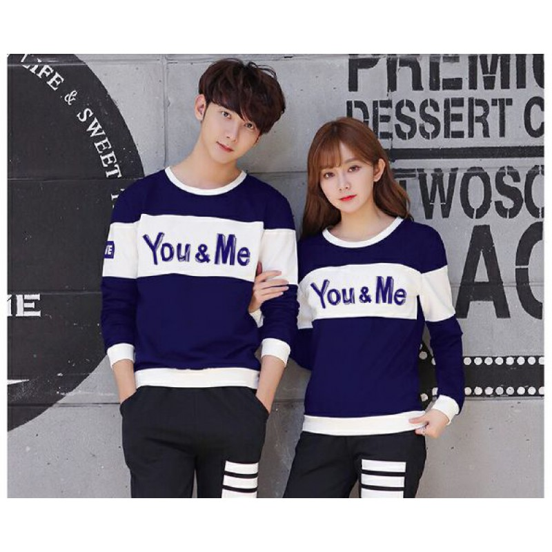 Jual Online Sweater You Me Neo Navy White Couple Murah di Cibinong Bahan Babytery Terbaru
