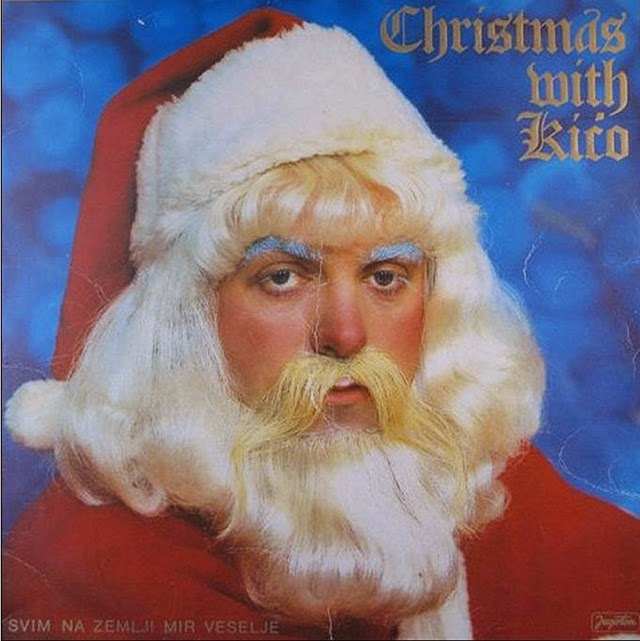 a collection of 32 strange vintage christmas album covers