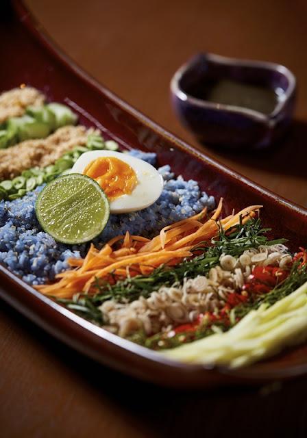 Southern Thai Food - Pak Tai - KHAO YAM PAK TAI   rice salad, kaffir lime leaves, lemongrass, dried shrimp, coconut, boodoo sauce