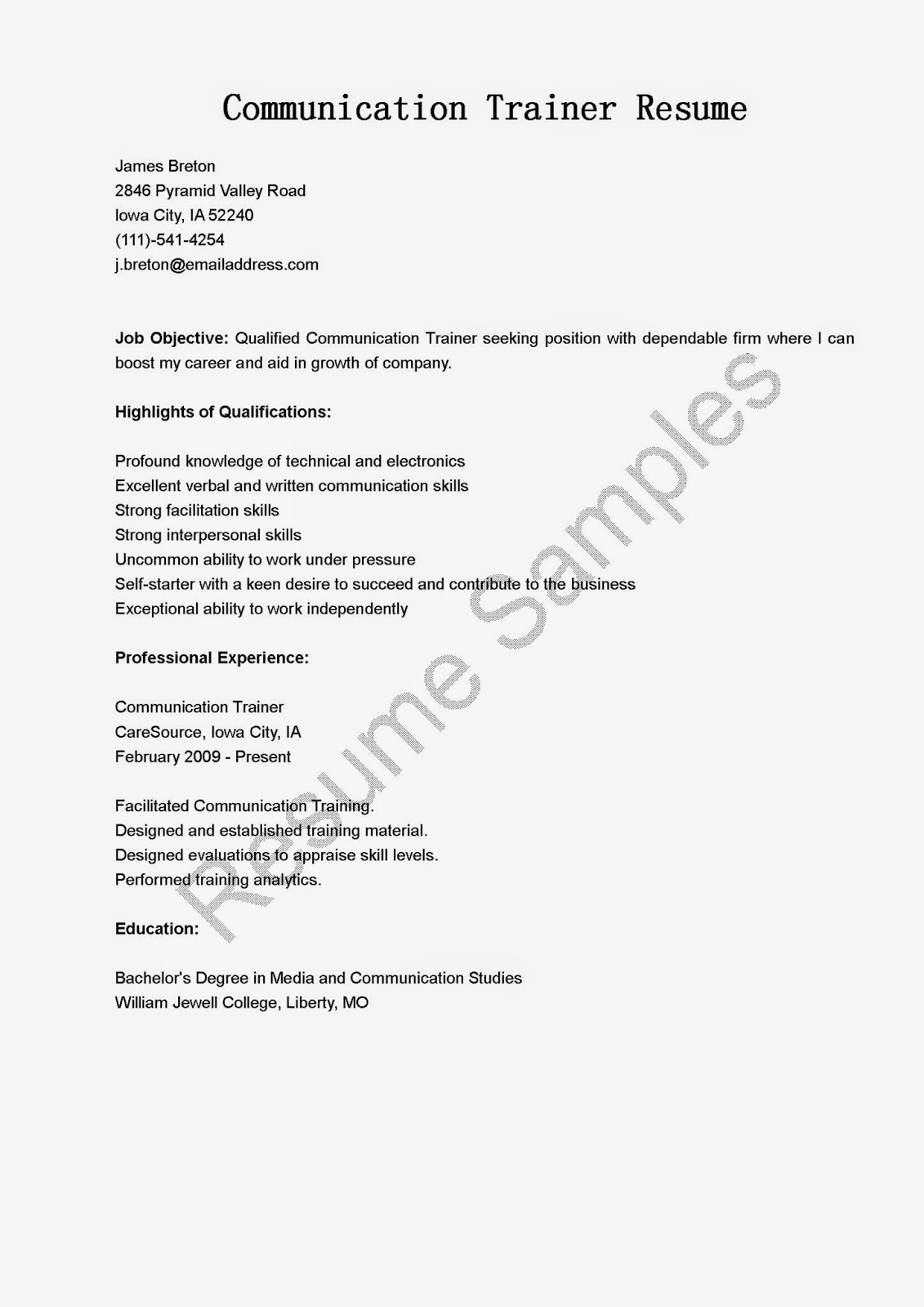 What To Write Under Communication On A Resume Resume Samples Communication Trainer Resume Sample