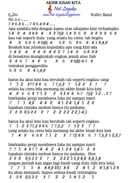 Not Angka Pianika Lagu Wallet Band Akhir Kisah Kita