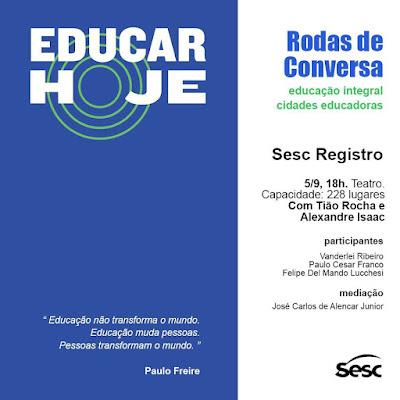 Nesta terça tem encontro sobre cidades educadoras no Sesc Registro-SP