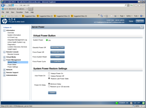 How to power on a physical server using ILO   Prem The IT Guru