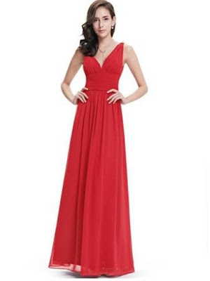 Ever pretty elegant v-neck chiffon maxi dress