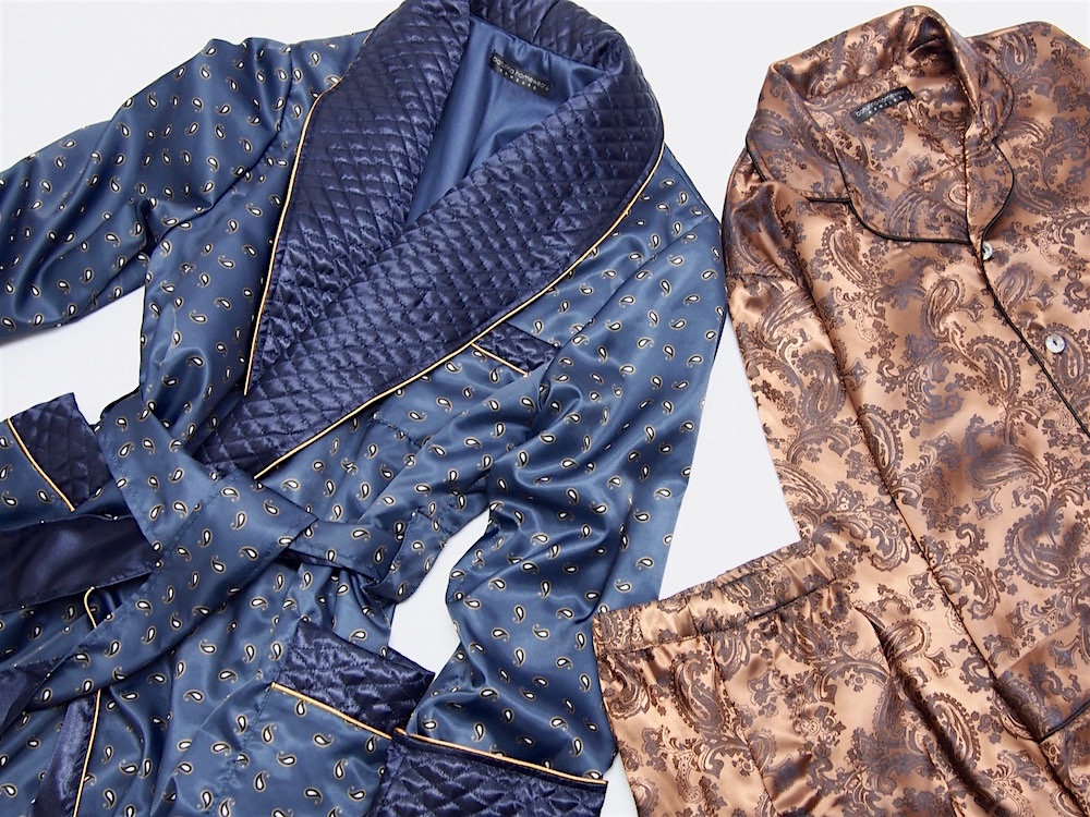 Long Dark Blue Silk Luxury Dressing Gowns for Men