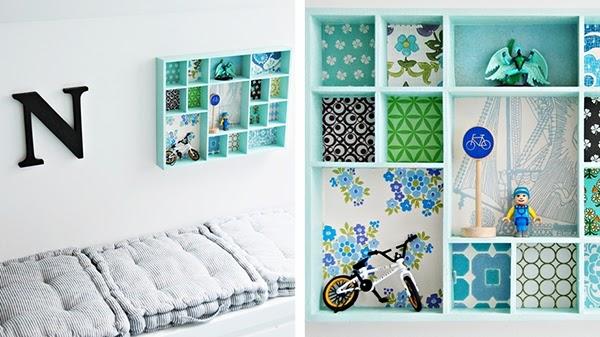 little wallpaper backed display shelves