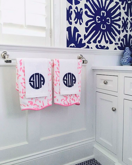 The zhush progress peeks our new house for Pink and blue bathroom accessories