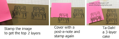 Photo sequence showing how-to stamp an extra layer of cake with Stampin'UP!'s Piece of Cake stamp set.