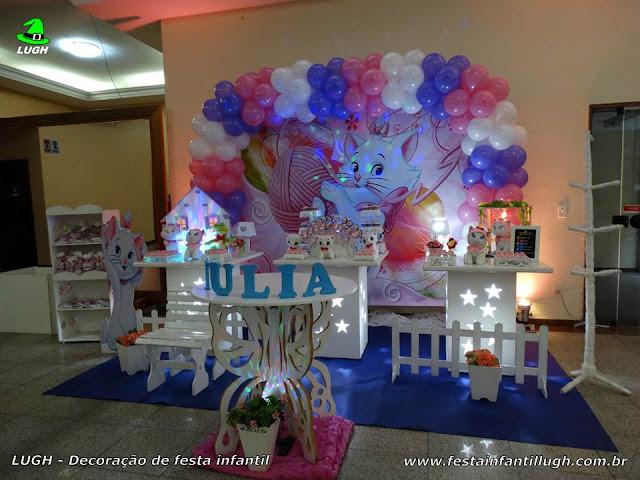 Decoração infantil Gata Marie realizado na Barra da Tijuca RJ