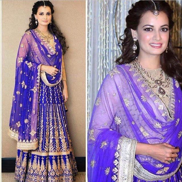 dia mirza, in @anitadongre designer lehenga at her sangeet ceremony. cant wait to see what she will wear at her wedding. bride, bridal, bridal,inspiration bollywood, 👸✨, Dia Mirza Wedding Photos with Sahil sangha