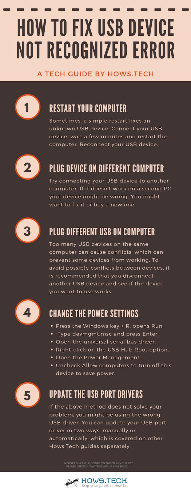 Fix USB Device Not Recognized Error Info-Graphics