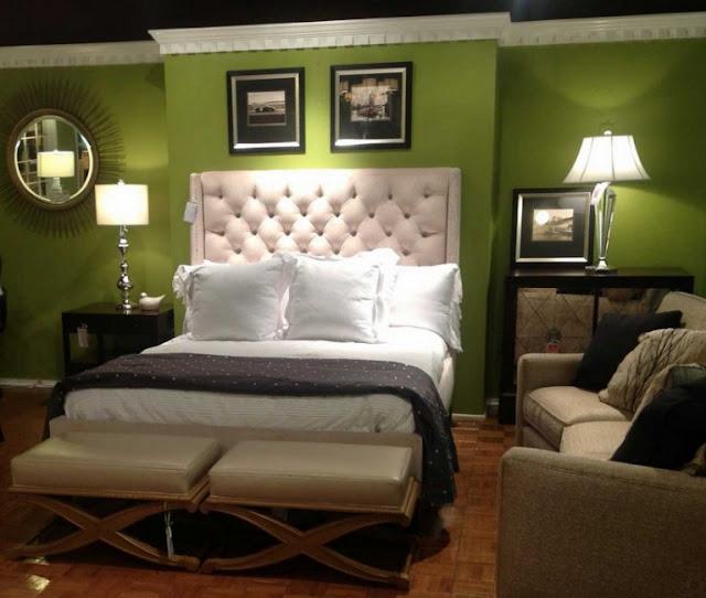 interior kamar tidur klasik minimalis hijau