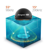 Dual Frequency Sonar for Deeper Smart Sonar PRO+/Pro - 290 kHz (15 degrees) narrow beam or 90 kHz (55 degrees) wide beam