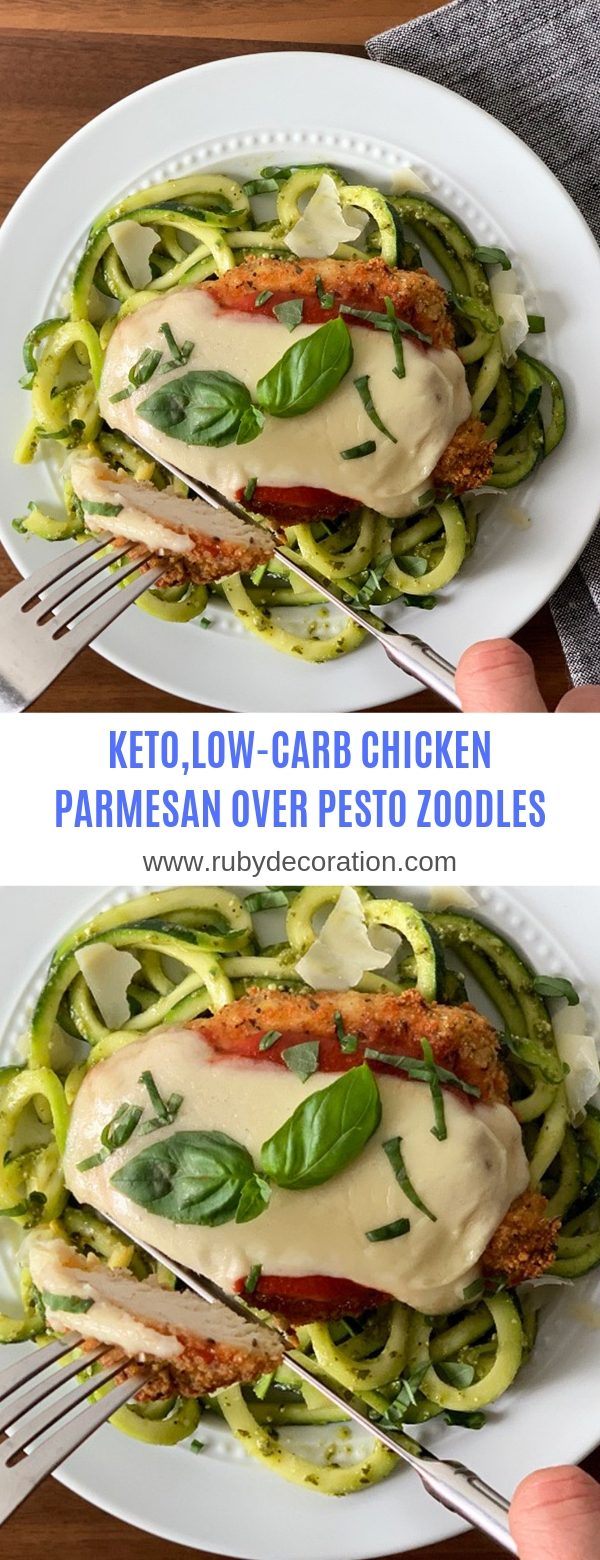 KETO,LOW-CARB CHICKEN PARMESAN OVER PESTO ZOODLES