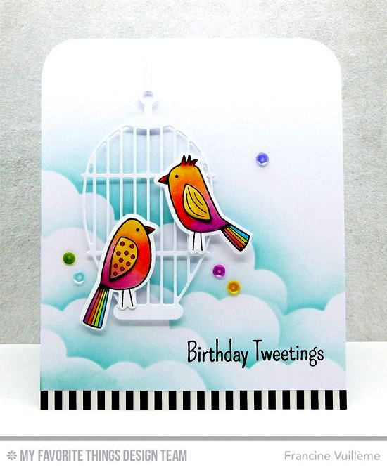 Handmade card from Francine Vuillème featuring Tweet Friends stamp set and Die-namics, Cheerful Cages and Stitched Cloud Edges #mftstamps
