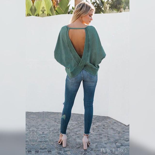 Μακρυμάνικη χακί γυναικεία μπλούζα STACEY KHAKI