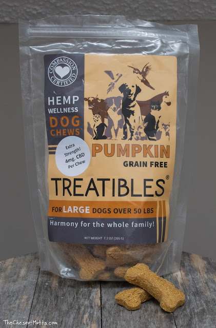 a bag of Treatibles grain free hemp CBD dog biscuits